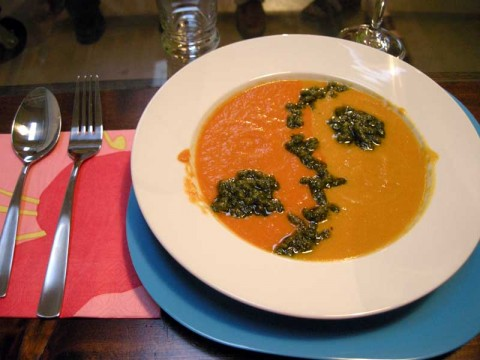 Gluten Free Yin and Yang Roasted Pepper Soup