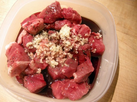Lamb marinating in pomegranate syrup
