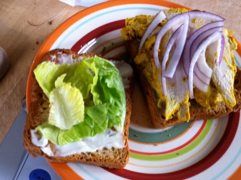 Gluten free curried chicken sandwich