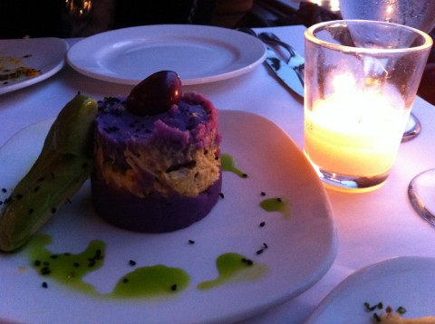Causa - purple potato cake