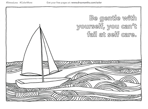 free, printable coloring page for stress relief - be gentle with yourself