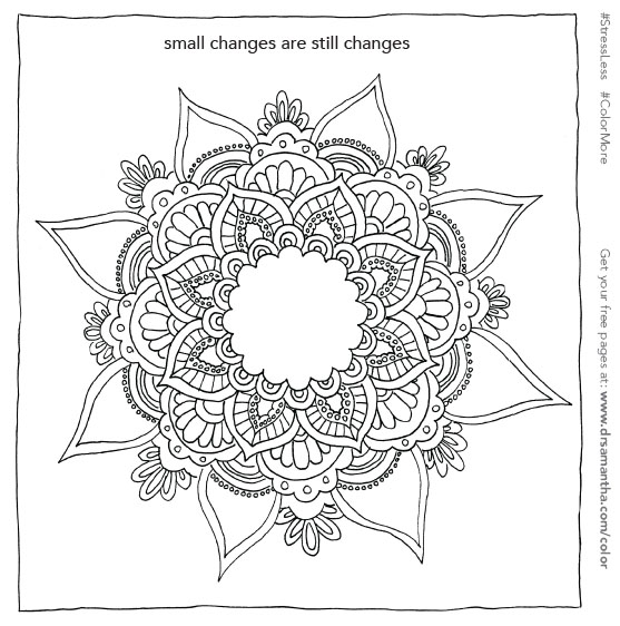 free, printable coloring page for stress relief - small changes are still changes