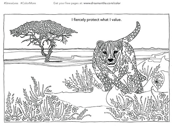 free, printable coloring page for stress relief - i fiercely protect what I value